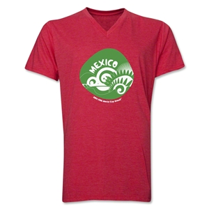 Mexico 2014 FIFA World Cup Brazil(TM) Men's Icon V-Neck Icon T-Shirt (Heather Red)