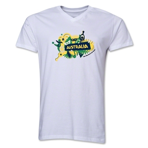 Australia 2014 FIFA World Cup Brazil(TM) Men's V-Neck Celebration T-Shirt (White)