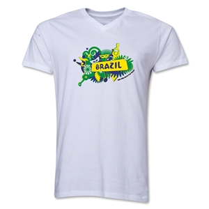 Brazil 2014 FIFA World Cup Brazil(TM) Men's V-Neck Celebration T-Shirt (White)