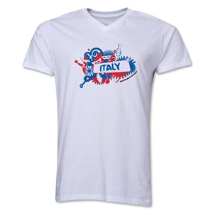 Italy 2014 FIFA World Cup Brazil(TM) Men's V-Neck Celebration T-Shirt (White)