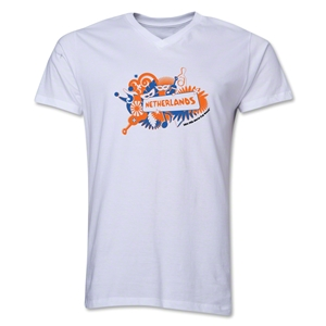 Netherlands 2014 FIFA World Cup Brazil(TM) Men's V-Neck Celebration T-Shirt (White)
