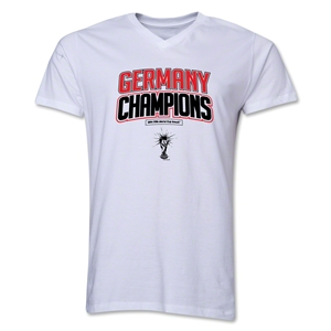 Germany 2014 FIFA World Cup Brazil(TM) Men's V-Neck Champions Logotype T-Shirt (White)