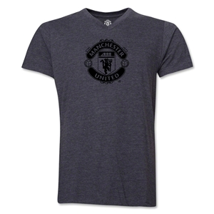 Manchester United Tonal Crest V-Neck T-Shirt (Dark Gray)