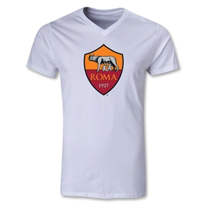 AS Roma Crest V-Neck T-Shirt (White)