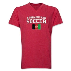 Afghanistan Soccer V-Neck T-Shirt (Heather Red)