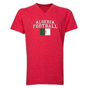 Algeria Football V-Neck T-Shirt (Heather Red)
