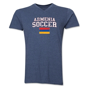 Armenia Soccer V-Neck T-Shirt (Heather Navy)