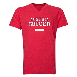 Austria Soccer V-Neck T-Shirt (Heather Red)