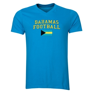 Bahamas Football V-Neck T-Shirt (Heather Turquoise)