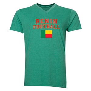 Benin Football V-Neck T-Shirt (Heather Green)