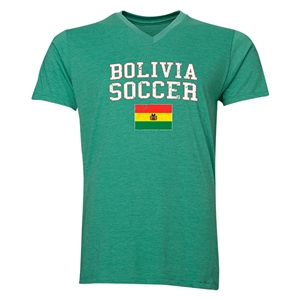 Bolivia Soccer V-Neck T-Shirt (Heather Green)