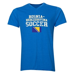 Bosnia-Herzegovina Soccer V-Neck T-Shirt (Heather Royal)