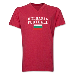 Bulgaria Football V-Neck T-Shirt (Heather Green)