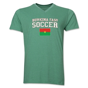 Burkina Faso Soccer V-Neck T-Shirt (Heather Green)