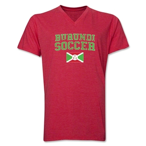 Burundi Soccer V-Neck T-Shirt (Heather Red)