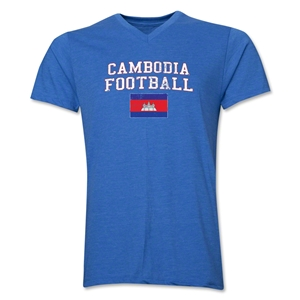 Cambodia Football V-Neck T-Shirt (Heather Royal)