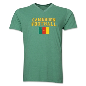 Cameroon Football V-Neck T-Shirt (Heather Green)