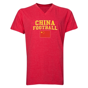China Football V-Neck T-Shirt (Heather Red)