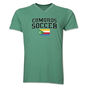 Comoros Soccer V-Neck T-Shirt (Heather Green)