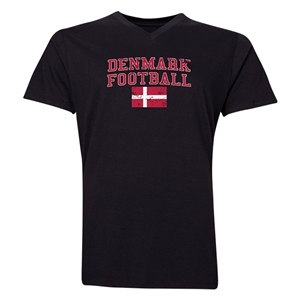 Denmark Football V-Neck T-Shirt (Black)