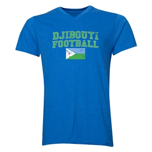 Djibouti Football V-Neck T-Shirt (Heather Royal)