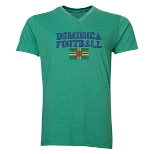 Dominica Football V-Neck T-Shirt (Heather Green)