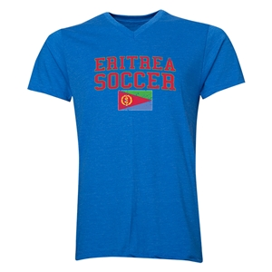 Eritrea Soccer V-Neck T-Shirt (Heather Royal)