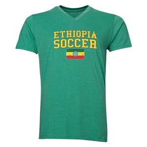 Ethiopia Soccer V-Neck T-Shirt (Heather Green)