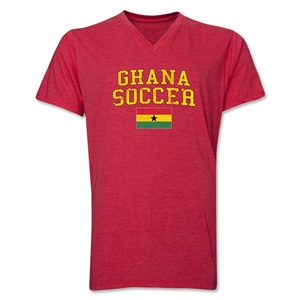 Ghana Soccer V-Neck T-Shirt (Heather Red)