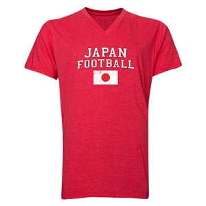 Japan Football V-Neck T-Shirt (Heather Red)
