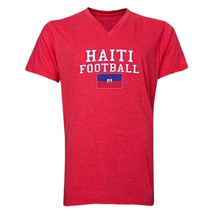 Haiti Football V-Neck T-Shirt (Heather Red)