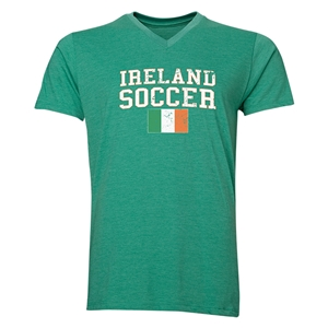 Ireland Soccer V-Neck T-Shirt (Heather Green)