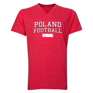 Poland Football V-Neck T-Shirt (Heather Red)