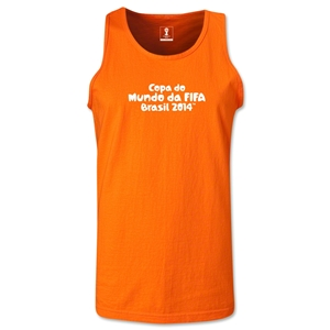 2014 FIFA World Cup Brazil(TM) Official Portuguese Logotype Men's Tank Top (Orange)