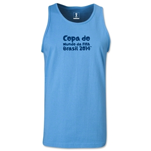 2014 FIFA World Cup Brazil(TM) Official Portuguese Logotype Men's Tank Top (Sky Blue)