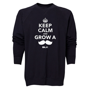 BLK Keep Calm and Grow a Moustache Men's Crewneck Fleece (Black)