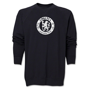 Chelsea Distressed Emblem Crewneck Fleece (Black)