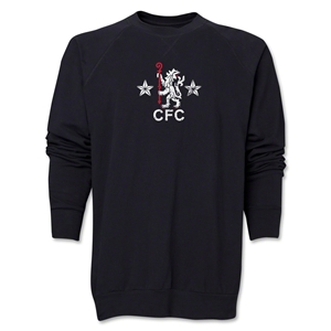 Chelsea Distressed Retro Crewneck Fleece (Black)
