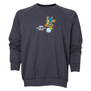 2014 FIFA World Cup Brazil(TM) Men's Official Mascot Crewneck Sweatshirt (Dark Grey)