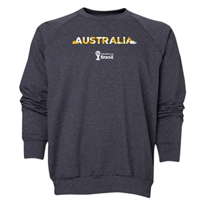 Australia 2014 FIFA World Cup Brazil(TM) Men's Palm Crewneck Sweatshirt (Dark Grey)