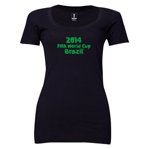 2014 FIFA World Cup Brazil(TM) Women's Official Logotype Scoopneck T-Shirt (Black)