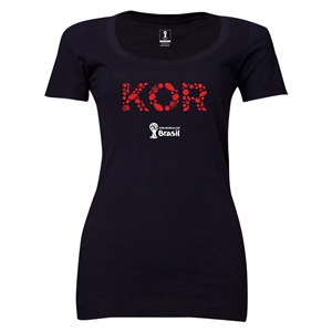South Korea 2014 FIFA World Cup Brazil(TM) Women's Elements Scoopneck T-Shirt (Black) Scoopneck T-Shirt (Dark Grey)