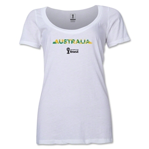 Australia 2014 FIFA World Cup Brazil(TM) Women's Palm Scoopneck T-Shirt (White)