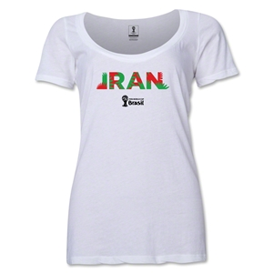 Iran 2014 FIFA World Cup Brazil(TM) Women's Palm Scoopneck T-Shirt (White)