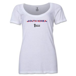 South Korea 2014 FIFA World Cup Brazil(TM) Women's Palm Scoopneck T-Shirt (White)