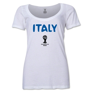 Italy 2014 FIFA World Cup Brazil(TM) Women's Core Scoopneck T-Shirt (White)