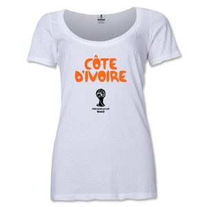 Cote d'Ivoire 2014 FIFA World Cup Brazil(TM) Women's Core Scoopneck T-Shirt (White)
