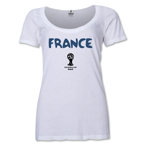 France 2014 FIFA World Cup Brazil(TM) Women's Core Scoopneck T-Shirt (White)