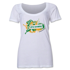 Cote d'Ivoire 2014 FIFA World Cup Brazil(TM) Women's Celebration Scoopneck T-Shirt (White)