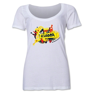 Ecuador 2014 FIFA World Cup Brazil(TM) Women's Celebration Scoopneck T-Shirt (White)